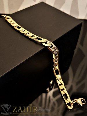Мъжка гривна от стомана 21 см,класическа плетка с гравирани елементи, широка 0,6 см - GS1057