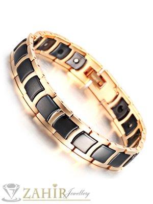 Непроменяща цвета си висококачествена гривна от волфрам и златно покритие, с магнити, дълга 21 см, широка 1,2 см - GS1070