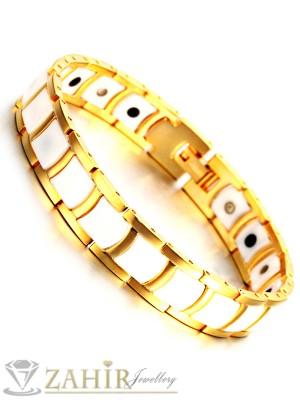 Непроменяща цвета си висококачествена гривна от волфрам и златно покритие, с магнити, дълга 21 см, широка 1,2 см - GS1071