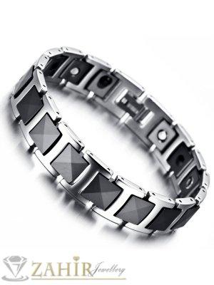 Непроменяща цвета си висококачествена гривна от волфрам и керамика, с магнити, дълга 21 см, широка 1,3 см - GS1072