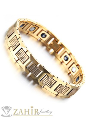 Непроменяща цвета си висококачествена гривна от волфрам и златно покритие, с магнити, дълга 20 см, широка 1,2 см - GS1079