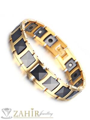 Непроменяща цвета си висококачествена гривна от волфрам и златно покритие, с магнити, дълга 21 см, широка 1,3 см - GS1086