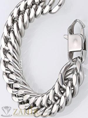 Класическа плетка гривна от стомана широка 1,2 см дълга 23 см - GS1095