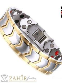 Красива стоманена гривна със златно покритие и лечебни магнити, дълга 21,5 см, широка 1,6 см - GS1154