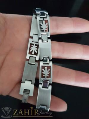 Висококачествена стоманена гривна дълга 22 см, гравирани плочки, широка 1,2 см - GS1155