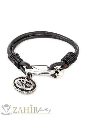 Естествена черна кожена гривна 22 см с метална закопчалка и висулка котва - GS1162