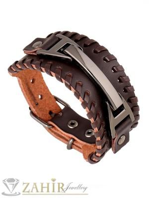Тъмно кафява кожена гривна със стоманени елементи, регулираща се дължина - GS1170