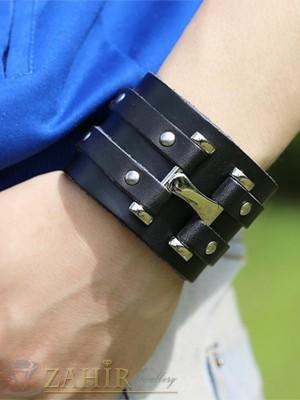 Стилна черна гривна 23 см от естествена кожа със стоманени елементи и капси, широка 5 см - GS1185