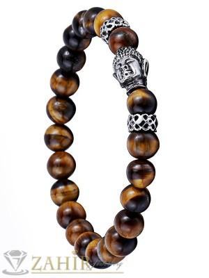Ръчно низана ластична гривна 22 см от естествен камък тигрово око 8 мм, с буда в сребърно покритие - MA1022