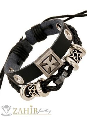 Двойна черна кожена гривна с гравирани метални елементи и кръст,регулираща се дължина - MG1102