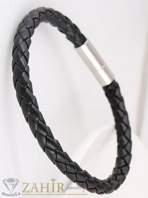 Класическа плетена черна гривна от еко кожа тип въже, стоманена закопчалка, дълга 21 см - MG1105