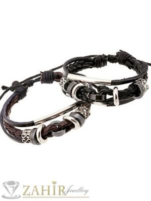 Кафява или черна плетена кожена гривна с метални и оксидирани елементи, регулираща се дължина - MG1109