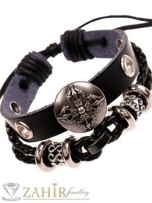 Двойна черна кожена гривна с гравирани метални елементи и кръст,регулираща се дължина - MG1112