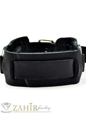 Класическа черна кожена гривна с метални халки дълга 27 см, широка 2,2 см - MG1118