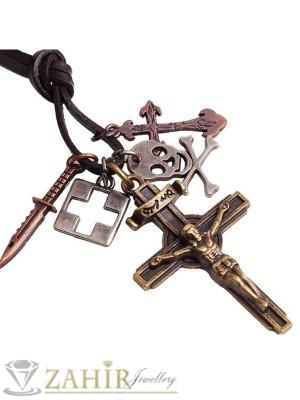 Черно мъжко кожено колие с висулка кръст и символи, регулираща се дължина - MK1254