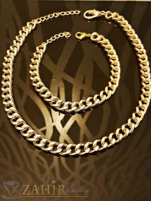 Класически комплект ланец - 52 + 5 см и гривна - 21 + 5 см, златно покритие, ширина 0,6 см - MKO1020