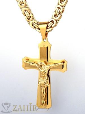 Висококачествен двойно позлатен ланец  61 см, широк 0,6 см с висулка  двойно позлатен кръст 5,5 см - ML1067