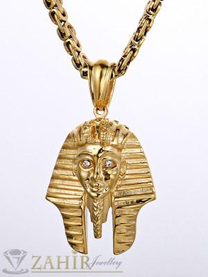 Атрактивен ланец - 55 см от медицинска стомана със златно покритие и висулка египетска маска - 5 см - ML1074