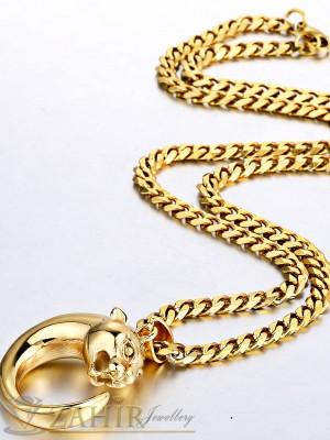 Висококачествен ланец - 55 см от медицинска стомана с висулка пантера- 3 см и златно покритие - ML1075