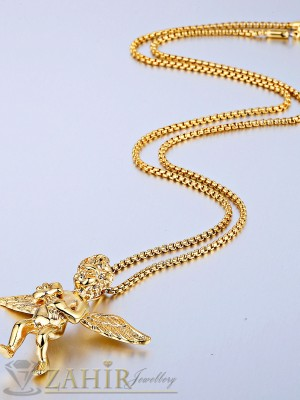 Нежен ланец от медицинска стомана - 45 см с висулка ангел - 4 см със златно покритие - ML1081