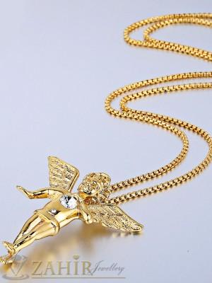 Тънък ланец 3 мм от медицинска стомана - 45 см с висулка ангел - 5 см със златно покритие - ML1082