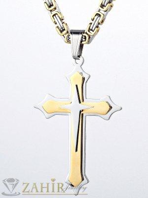 Масивен ланец - 55 см от стомана с висулка стоманен кръст - 5 см с позлатени елементи - ML1095