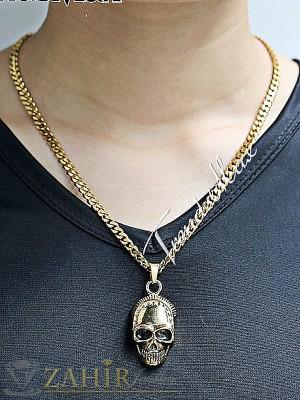 Мъжки ланец от медицинска стомана - 55 см с висулка череп- 4 см и златно покритие - ML1096