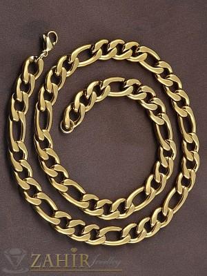 Масивен мъжки позлатен дълъг 60 см ланец, фигаро плетка,основа стомана широк 0,9 см - ML1127