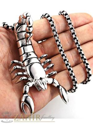 Огромен стоманен скорпион 8 см на стоманен ланец 58 см - ML1152