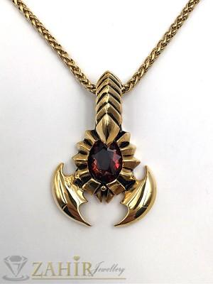 Красив позлатен скорпион 5 см с вишнев камък на позлатен стоманен ланец 58 см - ML1156