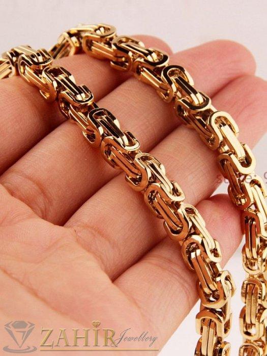 Моден стоманен ланец 60 см,позлатени звена, широк 0,6 см с висулка стоманен кръст 6 см - ML1164