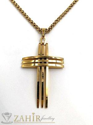 Великолепен позлатен стоманен кръст 5см на стилен стоманен ланец 58 см - ML1172