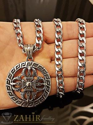 Класически гравиран стоманен медальон 4 см, на стилен ланец 58 см, класическа плетка - ML1183
