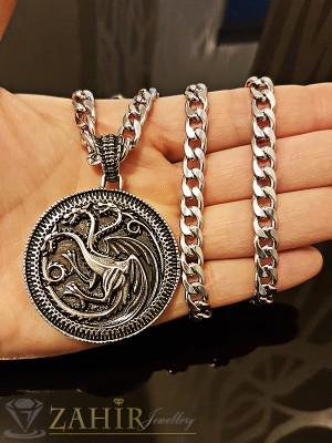Класически гравиран стоманен медальон 4 см, на стилен ланец 58 см, класическа плетка - ML1184