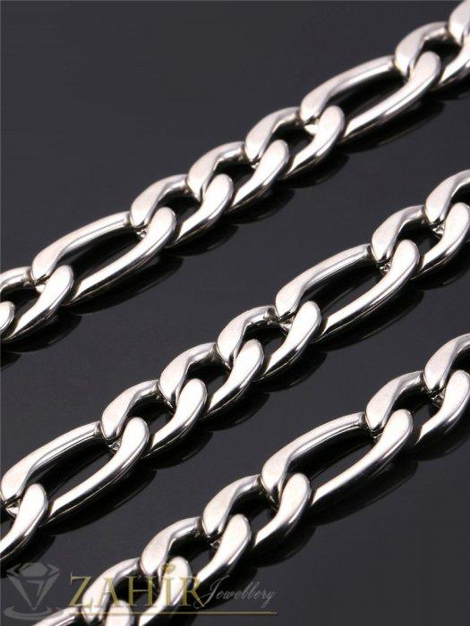 Бижута за мъже -  Класически стоманен комплект Фигаро плетка , ланец 56 см и гривна 21,5 см, широки 0,9 см- ML1102