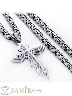 Мъжки ланец стомана 55 см, широк 0,5 см с висулка кръст от неръждаема стомана - 5 + 1 см - ML1003