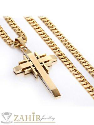 Позлатен мъжки ланец неръждаема стомана 55 см, широк 0,5 см с висулка позлатен кръст от стомана - 5 + 1см - ML1009