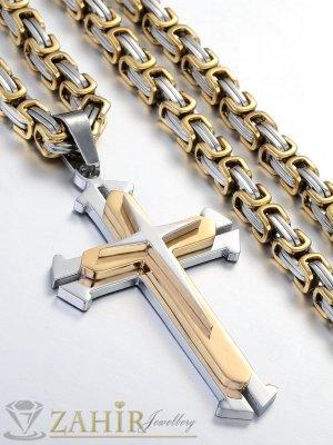Мъжки ланец от неръждаема стомана -56 см с позлатени елементи, широк 0,5 см с позлатен стоманен кръст - 5 + 1 см - ML1025