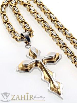 Мъжки ланец от неръждаема стомана - 60 см с позлатени елементи, широк 0,5 см с позлатен стоманен кръст - 5 + 1 см - ML1026