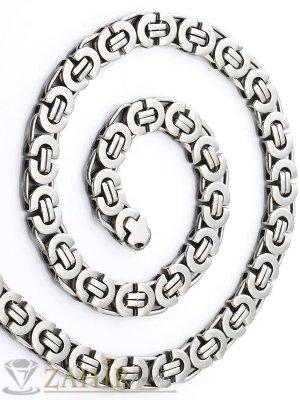 Масивен мъжки ланец от неръждаема стомана с гръцка плетка 1,1 см, дължина 60 см - ML1032