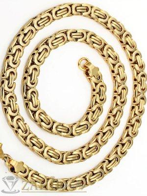 Едър мъжки позлатен ланец от неръждаема стомана -60 см, широк 0,7 см, гръцка плетка - ML1038
