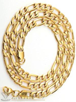 Мъжки позлатен ланец от неръждаема стомана - 59 см, широк 0,6 см, класическа плетка - ML1039