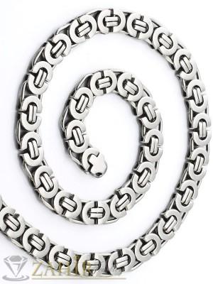 Масивен мъжки ланец от неръждаема стомана с гръцка плетка 1,1 см, дължина 55 см - ML1049