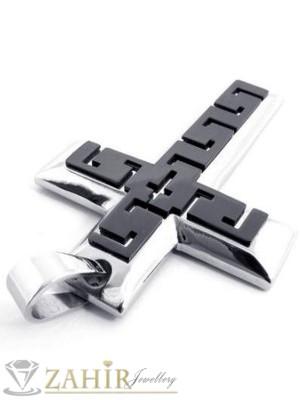 Стоманена висулка гръцки кръст - 6 см на черна кожена връв или метална верижка по избор - MP1006