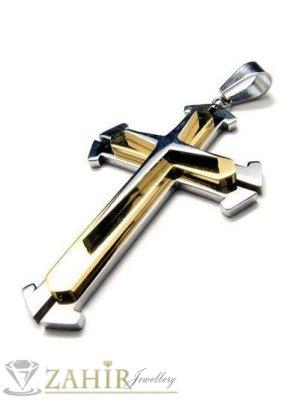 Стоманена висулка позлатен кръст - 5 см на черна кожена връв или метална верижка по избор - MP1011
