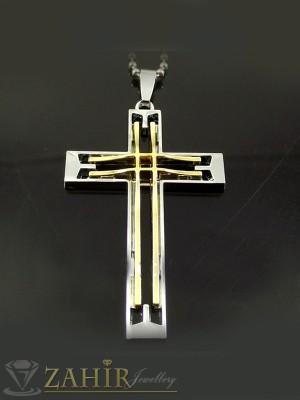 Стоманен кръст с позлата - 6 см на черна кожена връв или метална верижка по избор - MP1017
