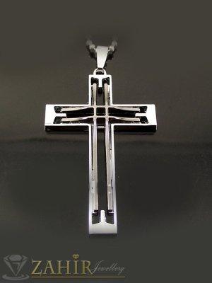 Стоманен кръст с черен емайл - 6 см на черна кожена връв или метална верижка по избор - MP1018