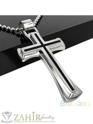Стоманен кръст с черен емай - 6 см на черна кожена връв или метална верижка по избор - MP1023