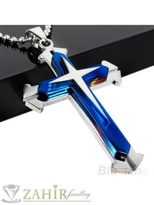 Стоманен кръст със син емайл - 6 см на черна кожена връв или метална верижка по избор - MP1029
