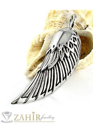 Висококачествена стоманена висулка ангелско крило 4 см на кожено колие или метална верижка, по избор - MP1042
